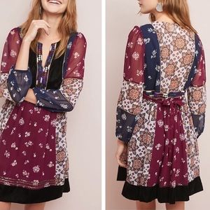 Anthropologie Maeve Quartier Latin Burgundy Dress